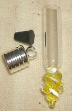 Yellow Twist Glass Pendant vial Silver plated cap