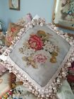 Amazing victorian antique needlework beadwork and tapestry cushion pillow