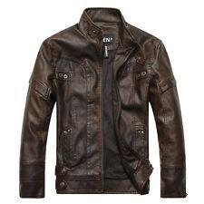 Mens Genuine Lambskin Leather Jacket Black Slim fit Motorcycle Biker Jacket NEW