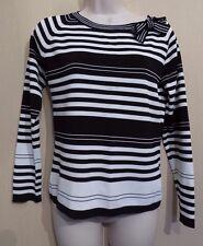 Wallis UK14 EU42 US10 black/white striped long-sleeved jumper with tie neck