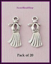 20 Antique Silver Colour 23 x 9mm Feminine Ladies Dress Charms