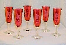 ~ LOT  SET OF 6 Vintage BOHEMIAN CZECH Art GLASS RUBY Flashed ETCHED CORDIALS  ~