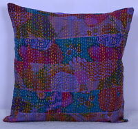 "16"" PATCHWORK INDIAN KANTHA FLORAL PILLOW CUSHION COVER THROW Ethnic Decorative"