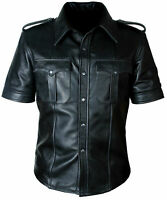 NEW MEN'S REAL PREMIUM LEATHER BLACK POLICE MILITARY STYLE SHIRT CHIC S-3XL