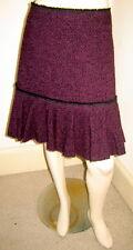 DKNY Plum Purple/Black Woven Tweed Boucle Wool Blend Skirt w/ Ruffled Hem (6)