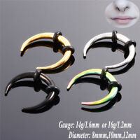 Surgical Steel Hoop Septum Nose Ring Piercing Clip Cartilage Earrings Jewelry JT
