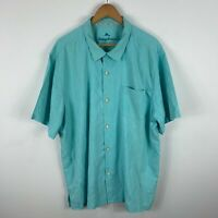 Tommy Bahama Silk Button Up Shirt Mens Size 2XL Sea Blue Short Sleeve Collared