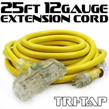 25Ft 12 3 Gauge industrial power Electrical Extension Cords cable tri-tap Ul