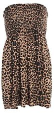 Ladies Sheering Boob Tube Gather Bandeau Ruched Top Summer Mini Dress Size 8-26 Leopard Print XL UK 16-18