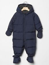 GAP Baby Boys Size 0-6 Months Navy Blue Warmest Snowsuit One-Piece Puffer Coat