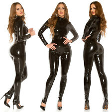 SEXY BLACK LATEX LOOK CATSUIT WET LEATHER LOOK JUMPSUIT with LONG SLEEVE 🔥🔥🔥