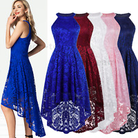 Women's Lace High Low Bridesmaid Dress Formal Cocktail Party Swing Maxi Dress