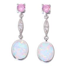 White Fire Opal Pink Topaz CZ Silver for Women Jewelry Stud Earrings OH4409
