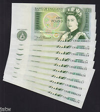 GREAT BRITAIN P-377b. (1981-84) One Pound. Somerset.. x 10 CONSECUTIVE.  aU-UNC