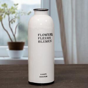 Schmale Blumenvase, Weiß-schwarz, Eisen, Blumenvase, Blumen, Deko, Shabby Shic