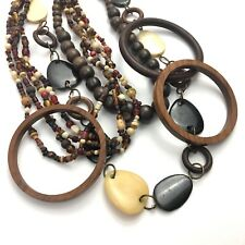 Vintage Wooden Jewelry Lot Wood Bangle Necklace Modernist Boho Natural Earth