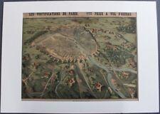 RARISSIME : Fortifications de Paris à Vol d'oiseau Litho Emrik & Binger Haarlem