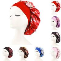 Silk Night Sleep Caps Hair Care Bonnet Hats Head Cover Satin Wide Nightcap 2019
