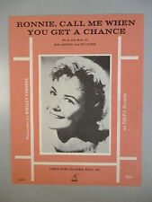 RONNIE CALL ME WHEN YOU GET A CHANCE Sheet Music SHELLY FABARES 1963 Pop #72