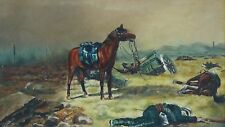 """SIGNED """"H.V.W.""""OIL ON CANVAS ca.1910 """"MORROW OF BATTLE""""AFTER FREDERIC REMINGTON"""