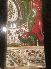 WHITE PINE NAPKINS WHITE GREEN RED PAISLEY SET OF (4) 20 X 20 nip