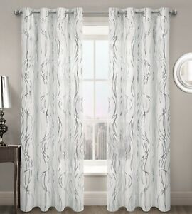 Swirl Ripple Effect Voile Curtain Eyelet Panel White Gold Silver Voile Net Panel