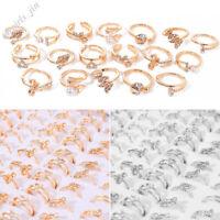 10Stk Damen Großhandel Kristall Strass Ringe Gold Silber Edelstahl Ring Schmuck