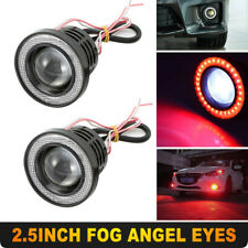 "Pair Red 2.5"" 64MM Car COB LED Fog Light Projector Angel Eyes Halo Ring DRL10W"