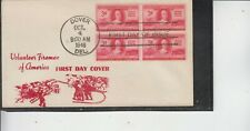 RARE FDC #971 VOLUNTEER FIREMEN ULTRA CACHET UNKNOWN(TO ME) BLOCK 4 UNADDRESSED