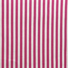 27 metre roll of Bright Pink and White Stripe Cotton Furnishing Fabric (ref 29)