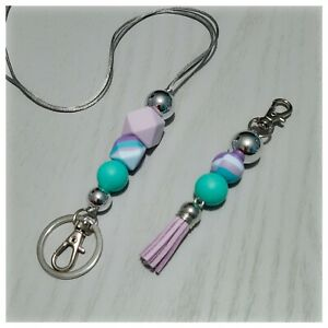 Mermaid Silicone Bead Teacher Lanyard & Tassel Keyring with Silver Accents Gift