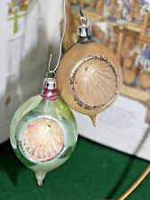 2 Vintage Christmas Hand Painted Glass Tear Drop Indents Tree Ornaments Poland