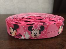 "1m Rosa Minnie Mouse Bow Mickey 22mm 7/8"" cinta del grosgrain"