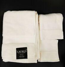 NEW RALPH LAUREN WESCOTT 3 PC SET LINEN CREAM BATH+HAND+WASH CLOTH TOWEL