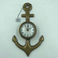 Nautical Brass Anchor Wall Clock Antique Finish Maritime Decor for the Captain
