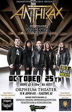 Anthrax / Death Angel 2016 Flagstaff, Az Concert Tour Poster -Thrash Metal Music