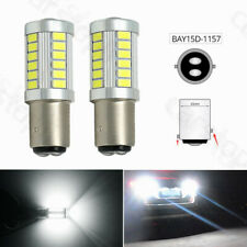 2x White 1157 BAY15D P21/5W 33SMD LED Bulb Light Car Tail Turn Signal Brake Stop