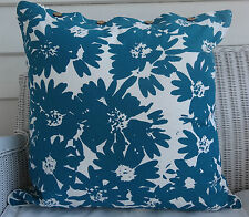 LARGE TEAL & WHITE PRINTED CUSHION COVER  60 X 60 TROPICAL LOOK DAYBED OR FLOOR