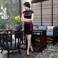 Chinese-style costume women's Cheongsam silk  qipao mini dress size S-2XL