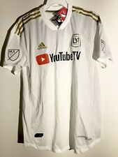 ADIDAS MLS LOS ANGELES FC AUTHENTIC TEAM JERSEY WHITE SZ L