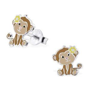 925 Sterling Silver Monkey Stud Earrings Yellow Flower Animal Girls Kids - Boxed