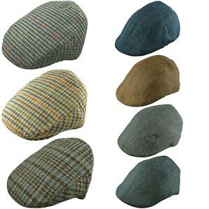 Flat Cap Boy Girl Tweed Herringbone or Check Peaky Brim Hat Wool 3 Sizes 2-13 Y