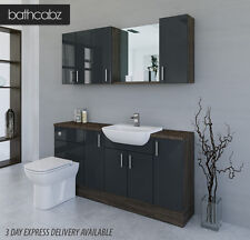 ANTHRACITE / MALI WENGE BATHROOM FITTED FURNITURE 1700MM WITH WALL