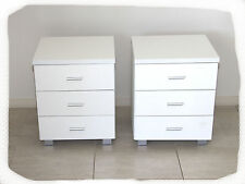 Set of 2 Connie White 3 Drawer Bedside Tables  - BRAND NEW
