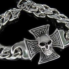 Silver SKULL Cross Classic Rolo Chain Bracelet for Harley Davidson Biker TB27