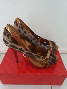 Brand New GUESS Womens BRONZE Animal Print peep toe Platform High Heels Size 8