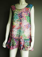 Fully Lined Frilled Hem Floral Print Chiffon Longline Tunic Size 12 NEW (£45)