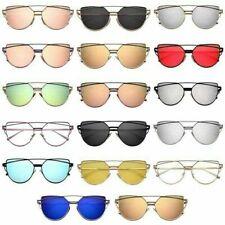 AU Women's Glasses Oversized Retro Sunglasses Metal Vintage Mirrored Eyewear Hot
