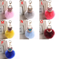New Women Fox Fur Pearl Ball Key Chain Keyring Rhinestone Bag Pendant Cute Gift