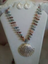 Clam Shell Seashell Pendant Necklace Earrings Set Faceted Glass Beads NE026